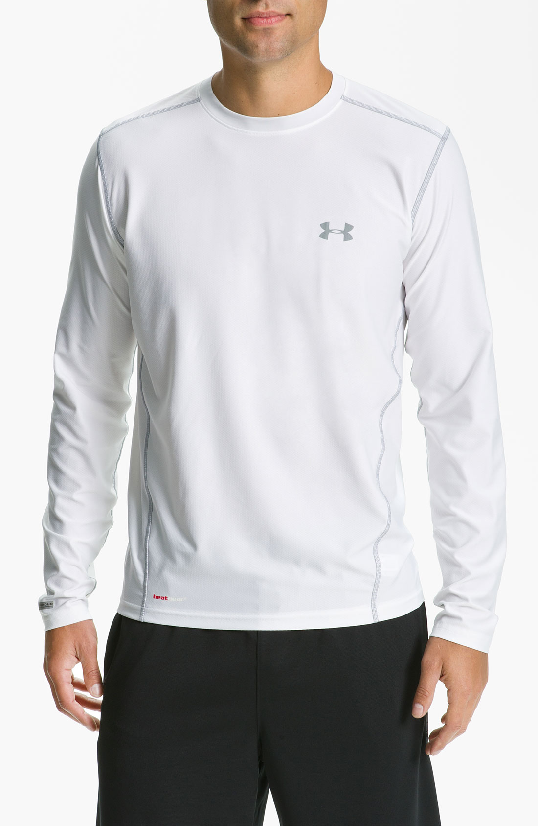 Under armour heatgear fitted long sleeve tshirt in white for Under armour heatgear white shirt