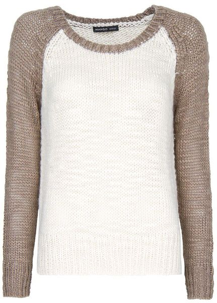 Mango Twotone Knit Sweater in Beige (cream) - Lyst