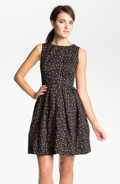 Taylor Dresses Polka Dot Cotton Fit Flare Dress In Black