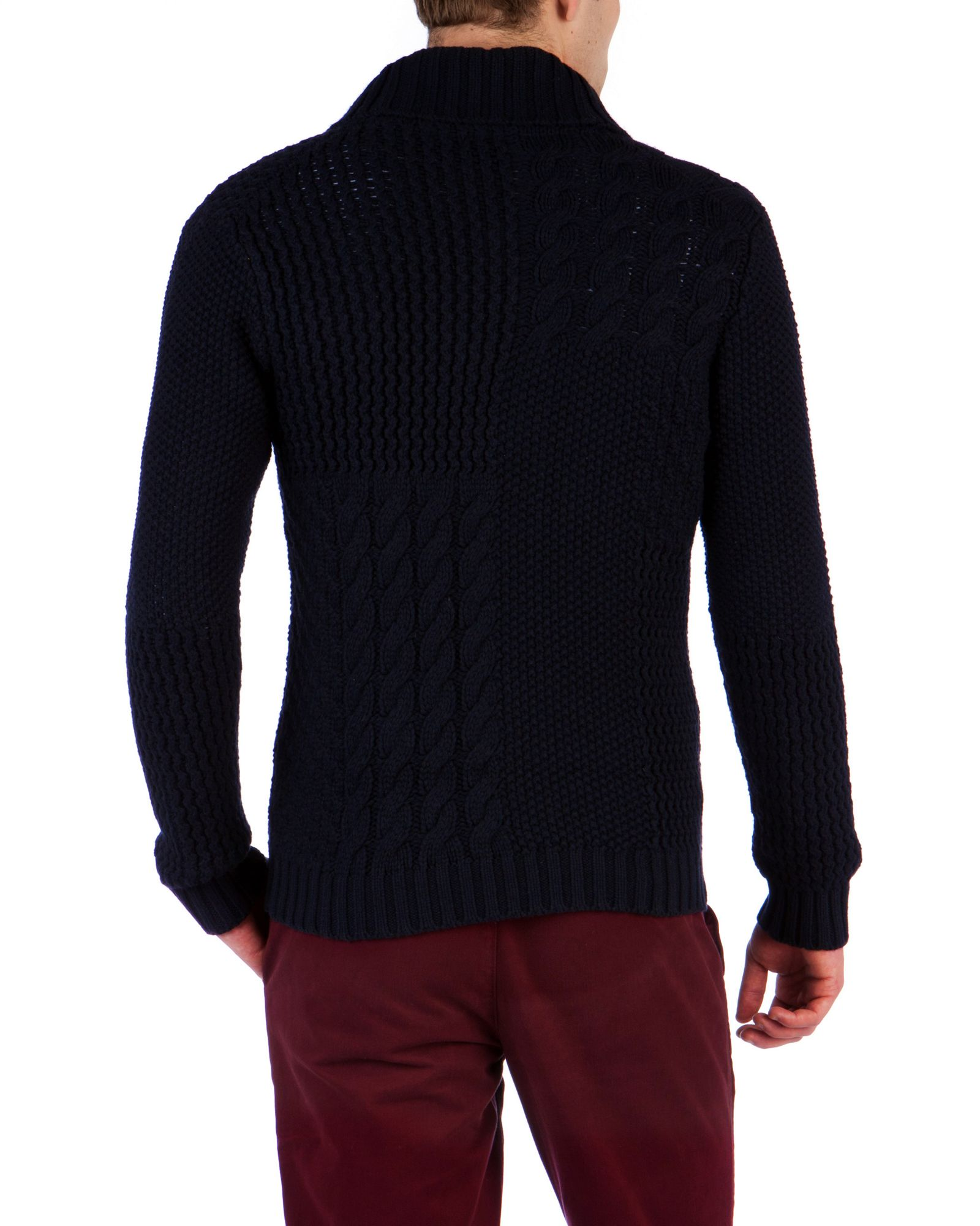 Ted Baker Pachman Cable Button Up Knit in Navy (Blue) for Men