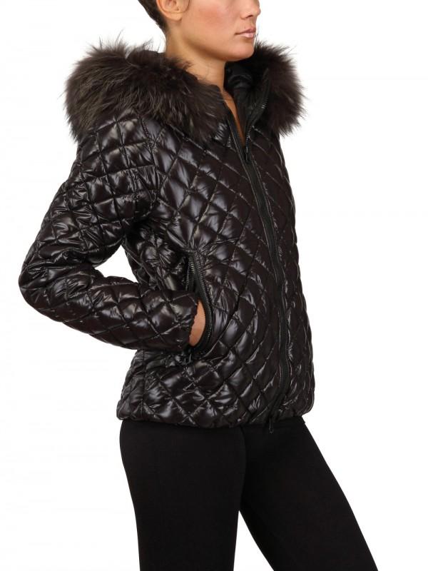 Duvetica Aida Fur Hood Quilted Nylon Down Jacket In Black