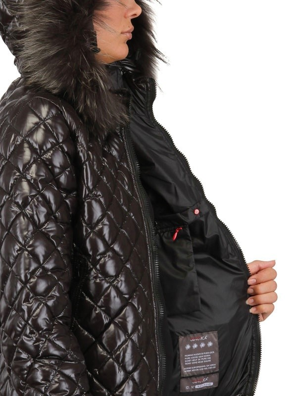 Lyst Duvetica Aida Fur Hood Quilted Nylon Down Jacket In