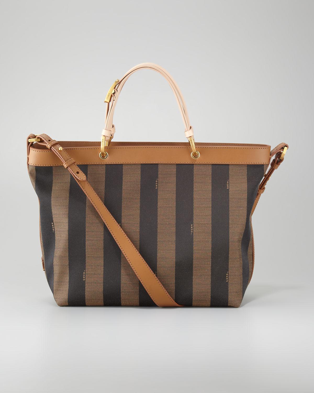 Fendi Pequin Shoulder Strap Tote Bag in Orange | Lyst