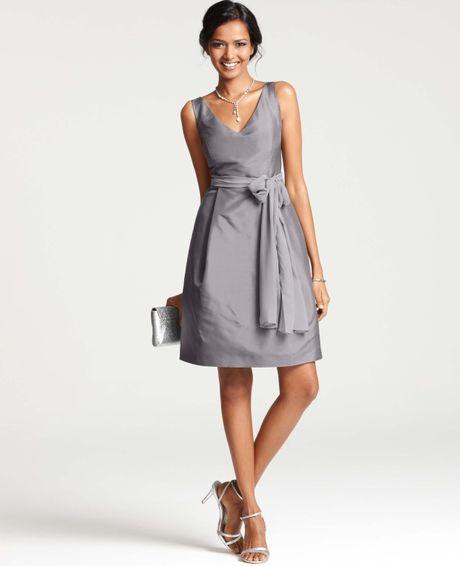 Ann Taylor Silk Dupioni Vneck Bridesmaid Dress In Gray