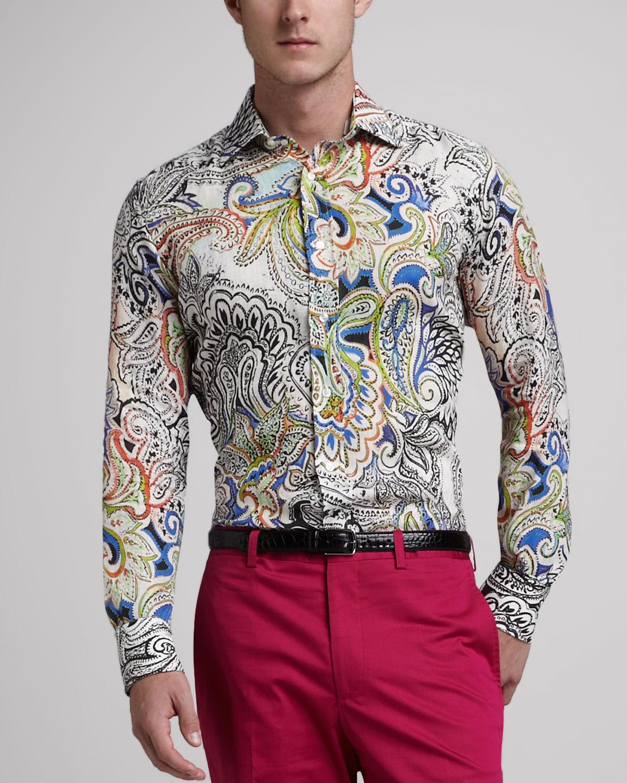 Lyst etro paisley sport shirt for men for Etro men s shirts