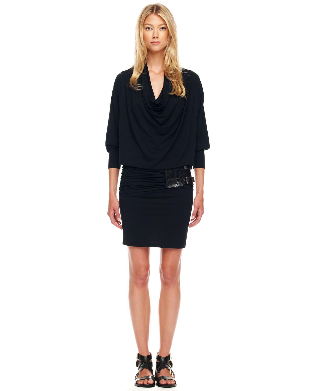 lyst michael kors belted blouson dress in black. Black Bedroom Furniture Sets. Home Design Ideas