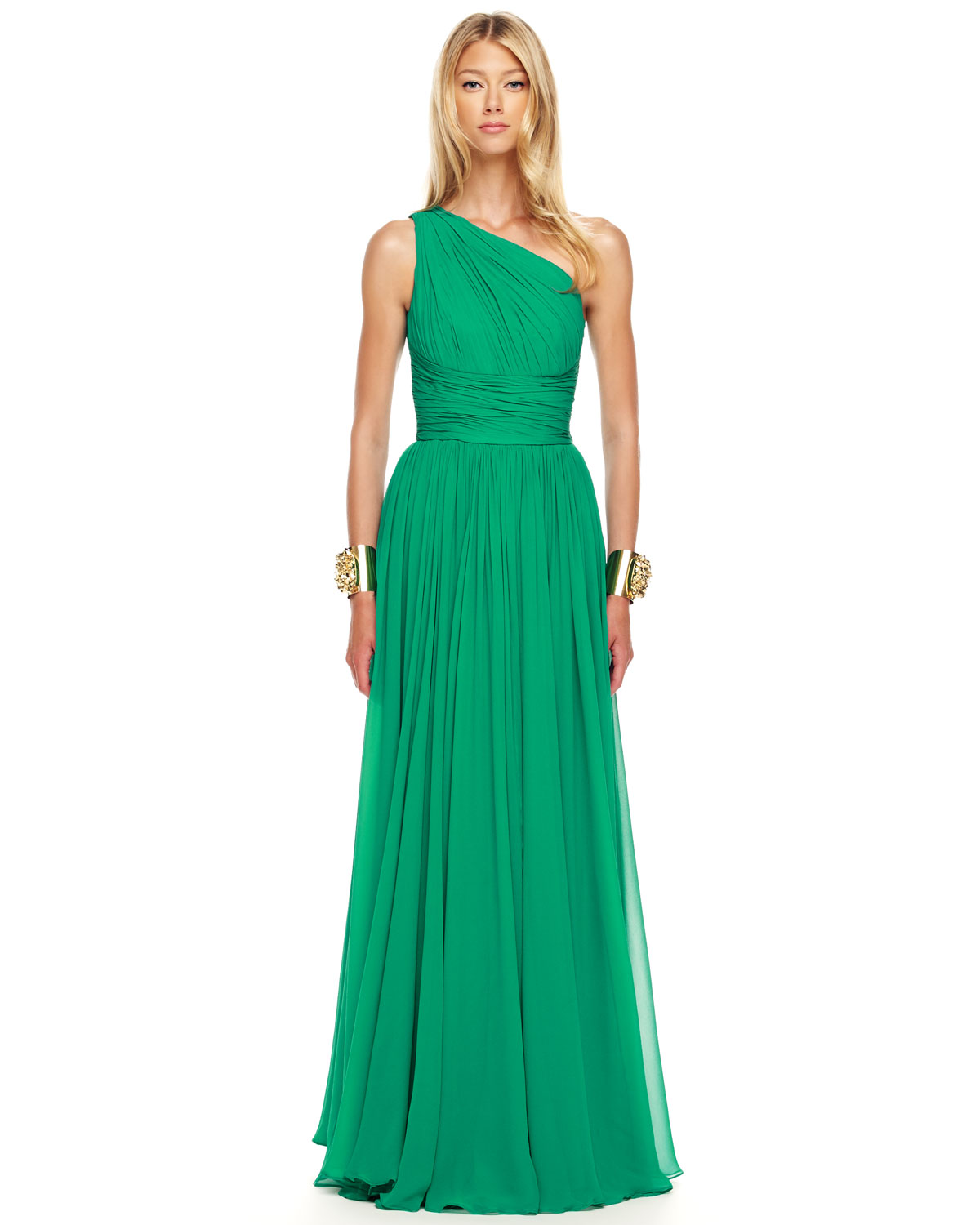 Lyst - Michael Kors Ruched Oneshoulder Gown in Green