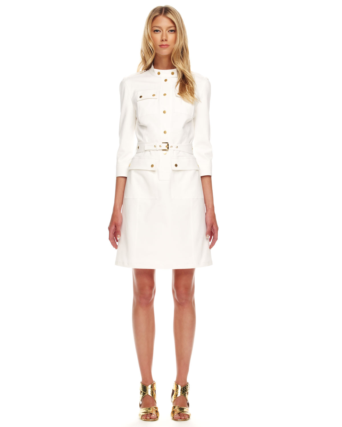 Michael kors Twill Military Dress in White | Lyst