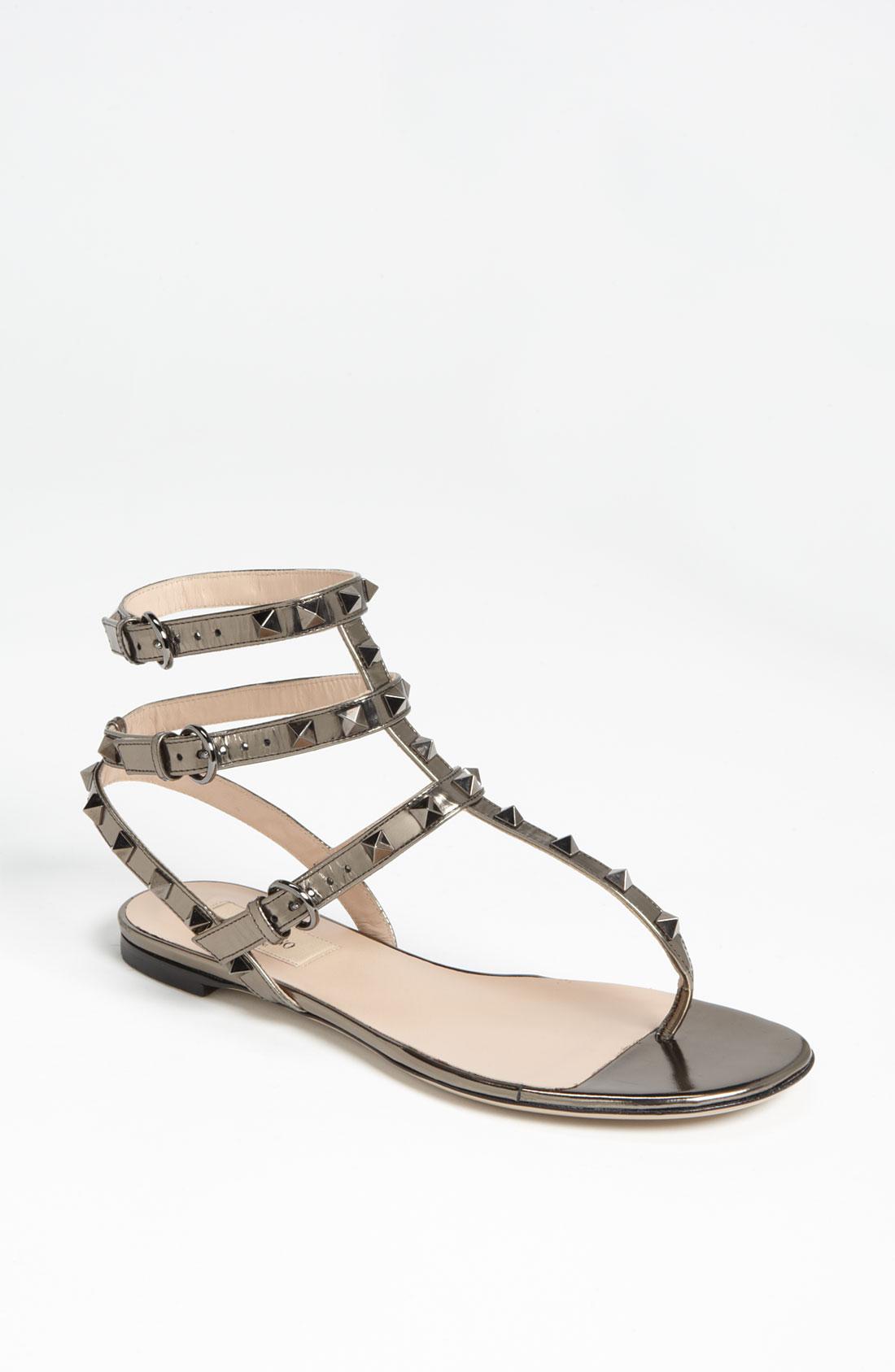valentino rockstud flat sandal in silver bronze lyst. Black Bedroom Furniture Sets. Home Design Ideas
