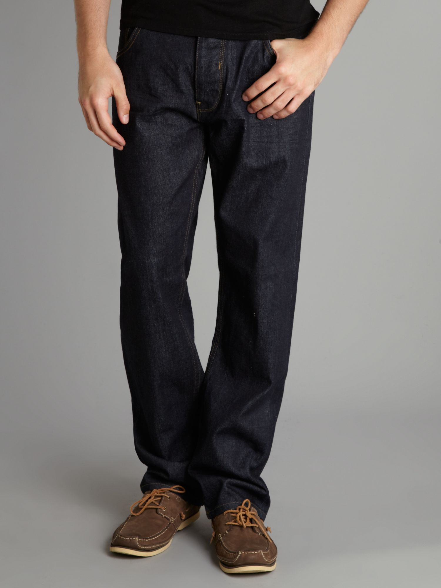 Bench Straight Fitted Raw Denim Jeans in Blue for Men