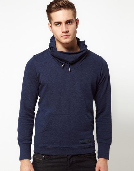 Diesel Hoodie With Funnel Neck In Blue For Men Lyst