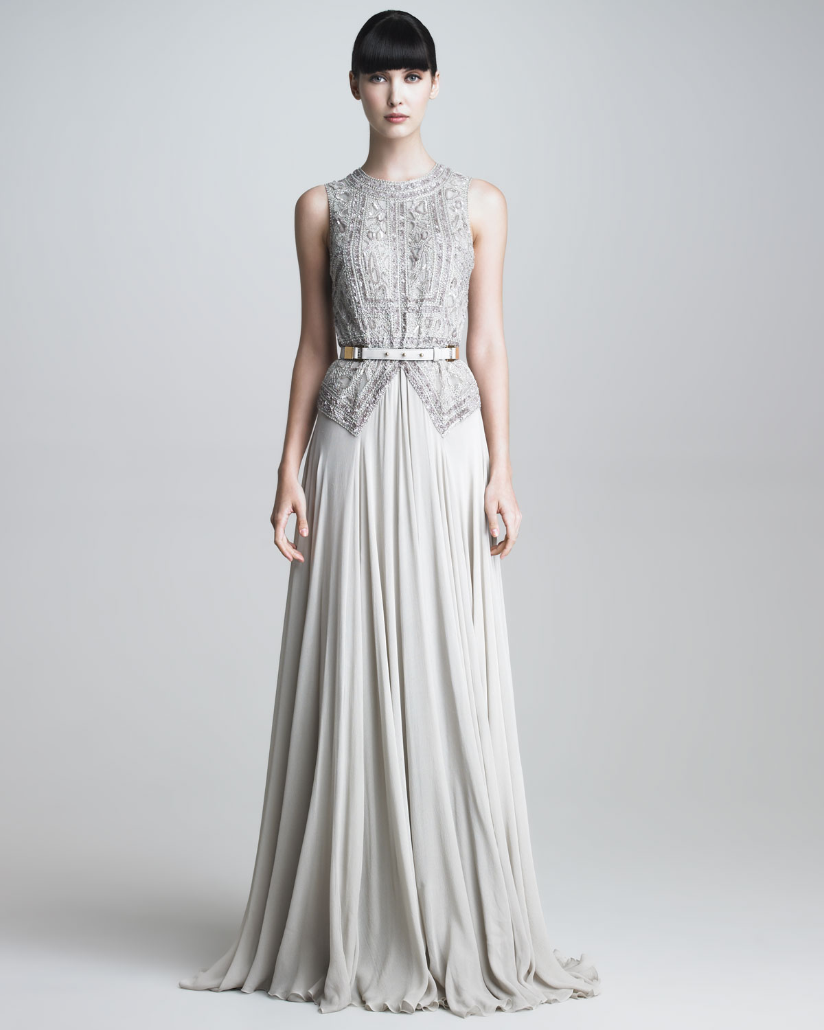 Lyst - Elie saab Beaded Bodice Gown in Gray