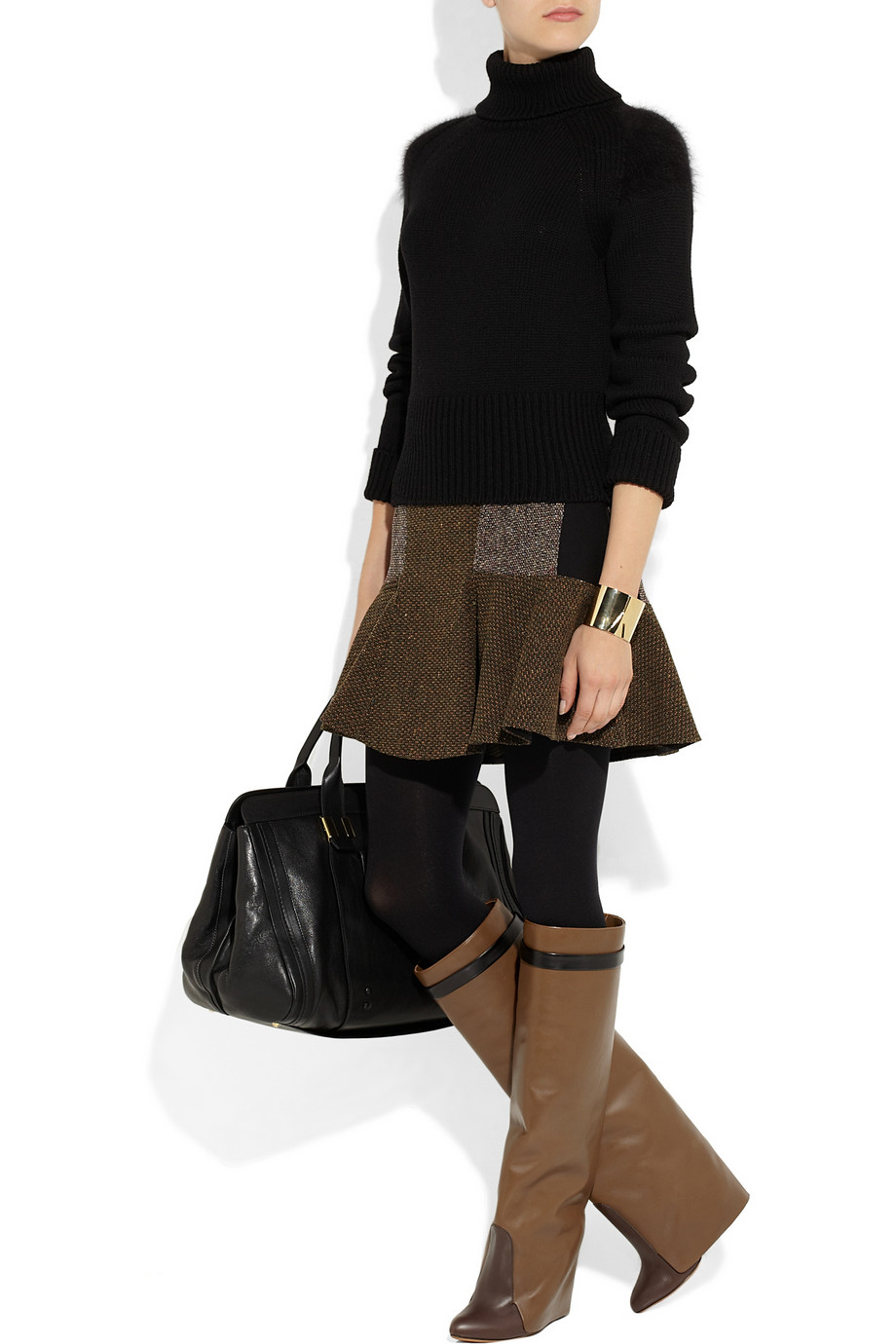 Givenchy Leather Knee Wedge Boots In Brown Lyst