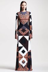 Givenchy Mixed Print Crepe Gown