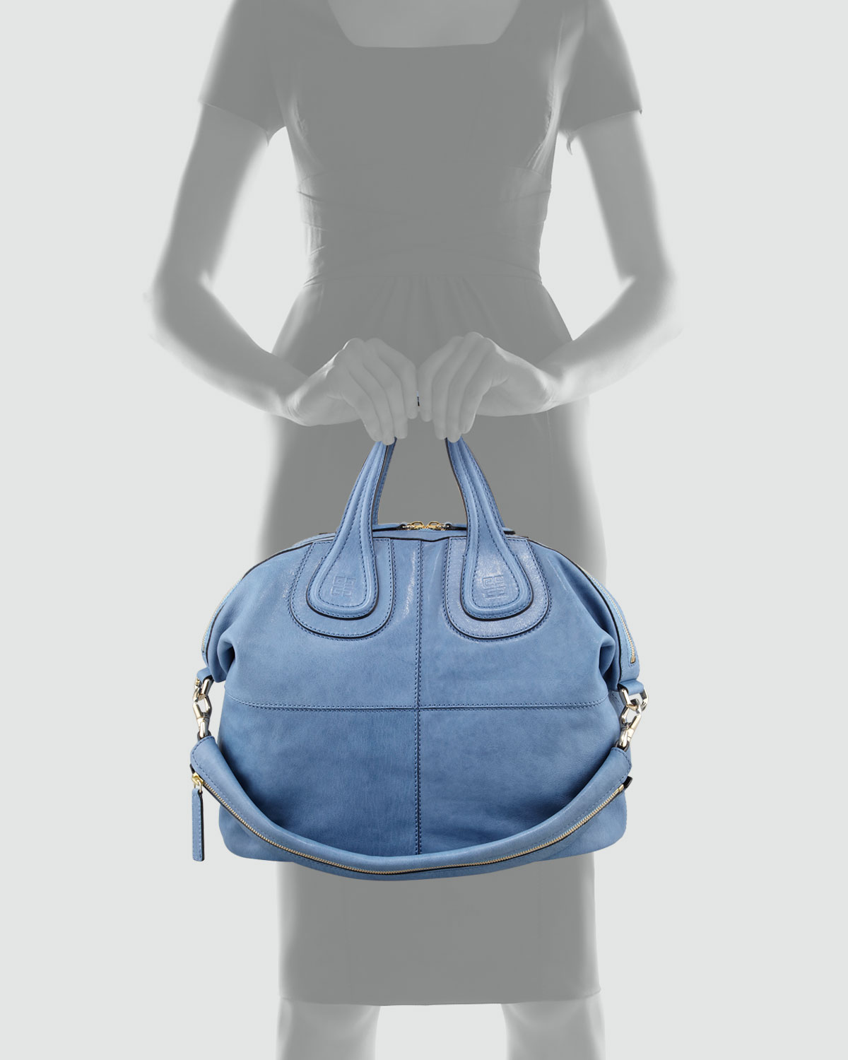 e7ced46170 Lyst - Givenchy Nightingale Zanzi Medium Leather Satchel Bag Sky ...