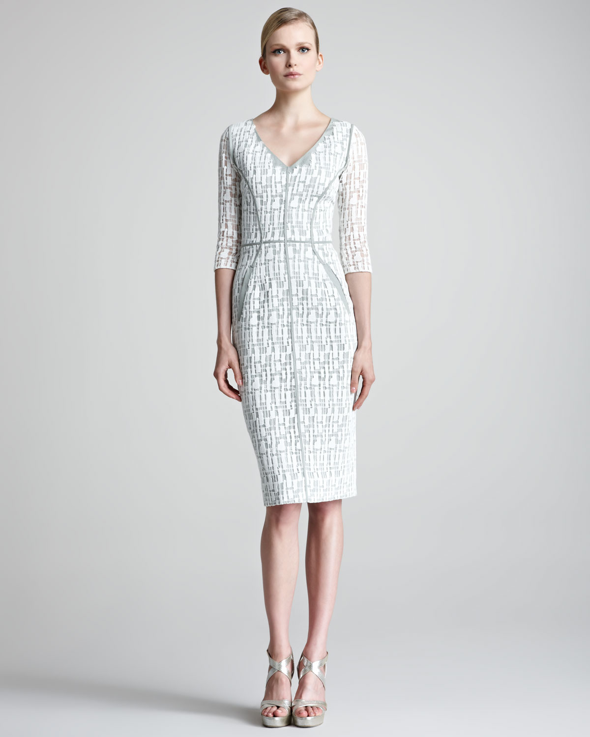 Lela Rose Jigsaw Lace Dress In Gray Lyst