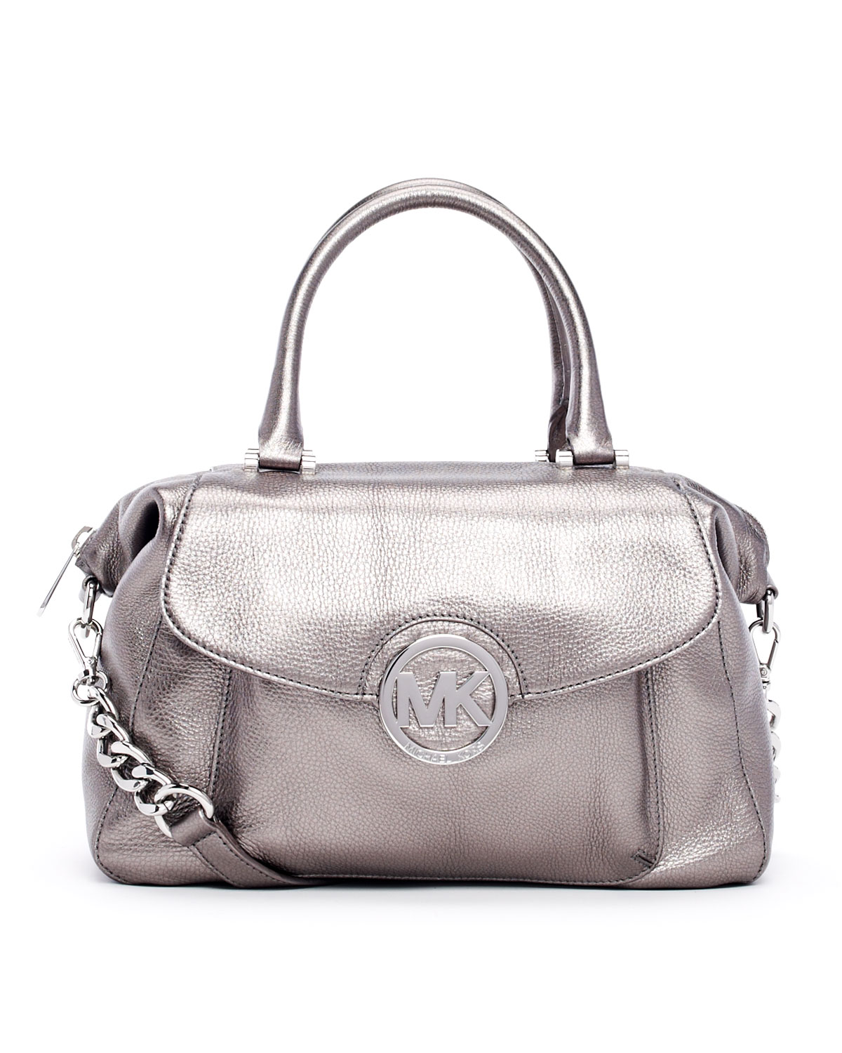 d8e9f4900e8 Lyst - Michael Kors Large Fulton Metallic Pebbled Leather Satchel in ...