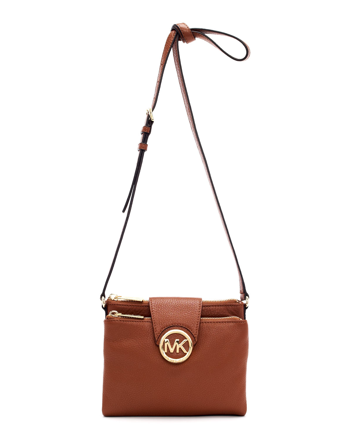 lyst michael kors large fulton pebbled crossbody in brown. Black Bedroom Furniture Sets. Home Design Ideas