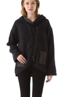 Rebecca Taylor Boucle Hooded Coat with Leather Trim - Lyst