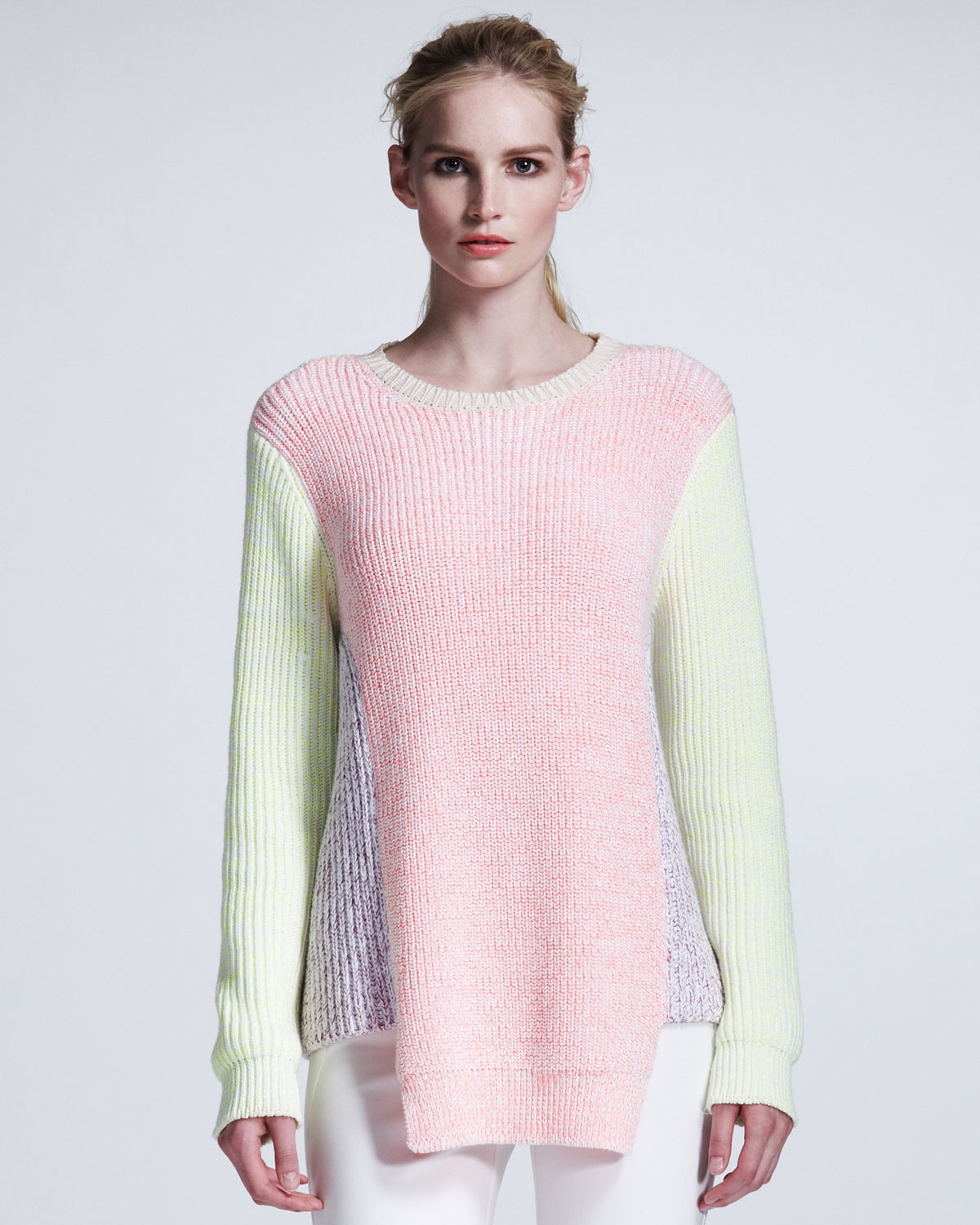 7d43caac6 Lyst - Stella McCartney Pastel Colorblock Knit Pullover in Pink