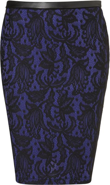 Topshop Lace Pencil Skirt in Blue (black)