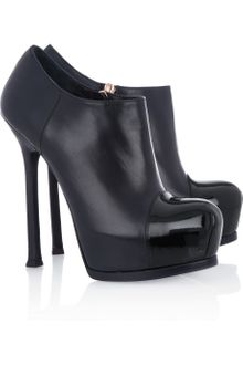 Yves Saint Laurent Tribtoo Patent and Leather Ankle Boots - Lyst