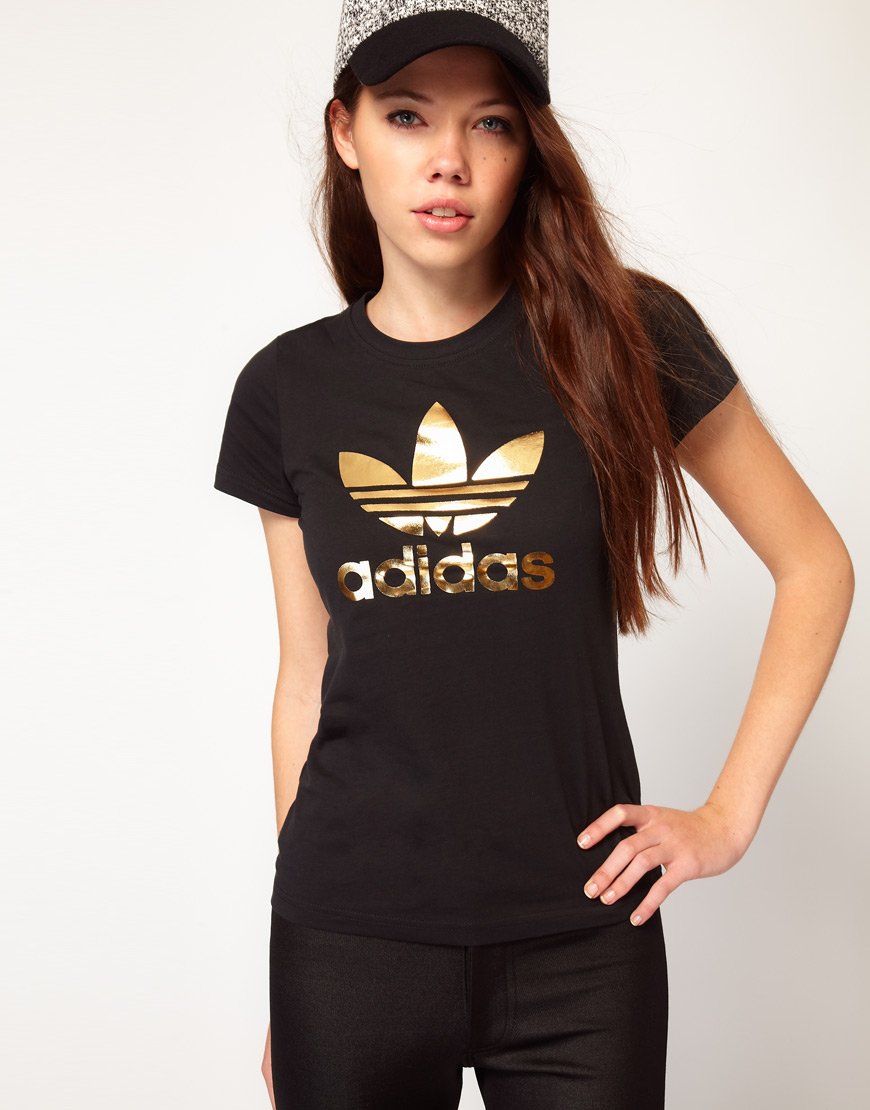 adidas trefoil tee rose gold
