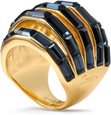 coach baguette pierced domed ring in gold gold blue lyst