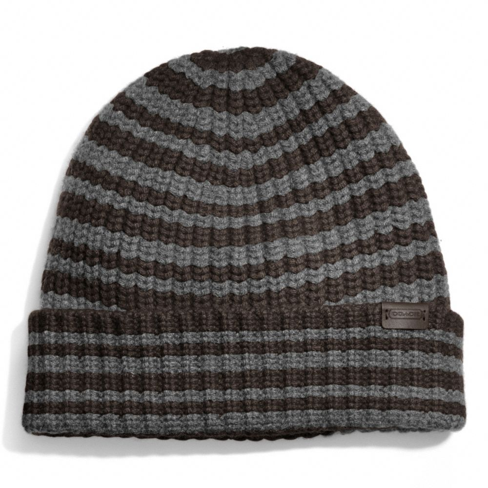 Coach Cashmere Striped Ribbed Knit Cap In Gray For Men Lyst