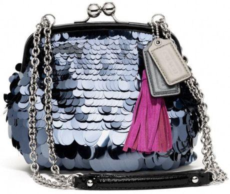 Coach Poppy Sequin Pailette Frame Bag in Silver (silversilver)