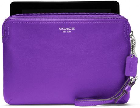 Coach Legacy Leather Ereader Sleeve in Purple (silver/ultraviolet)