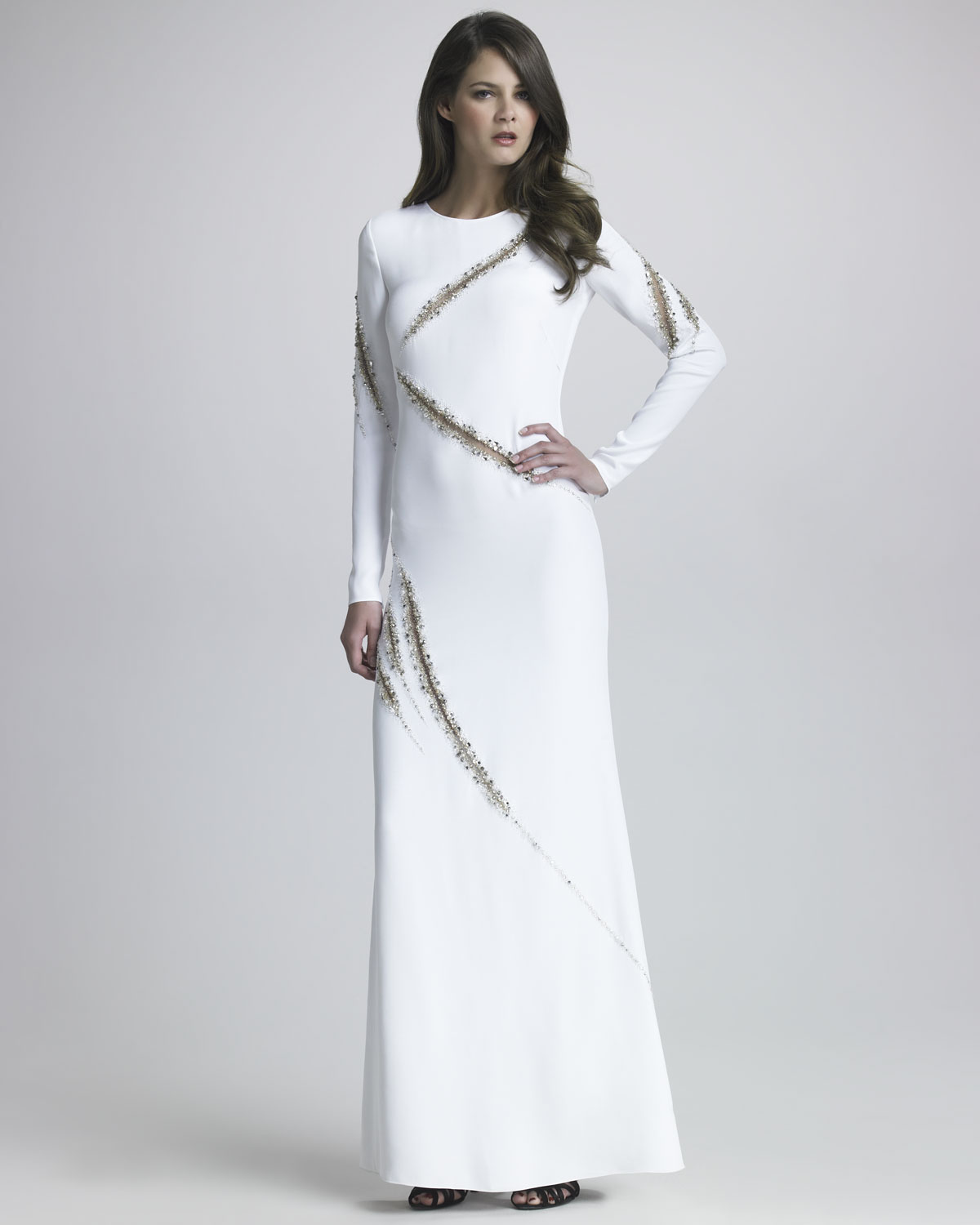 c9fbfbe72836 Lyst - Emilio Pucci Beaded Long Sleeve Gown in White