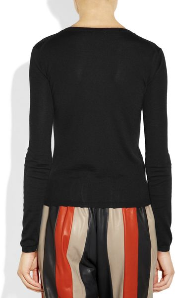 Miu Miu Cashmere And Silk Blend Sweater In Black Lyst