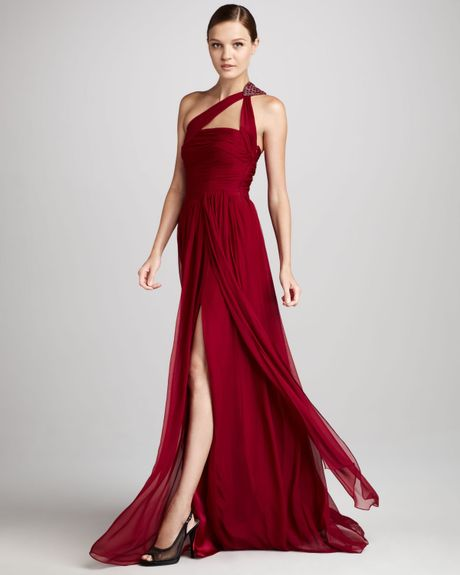 Ml Monique Lhuillier One Shoulder Beaded Chiffon Gown In