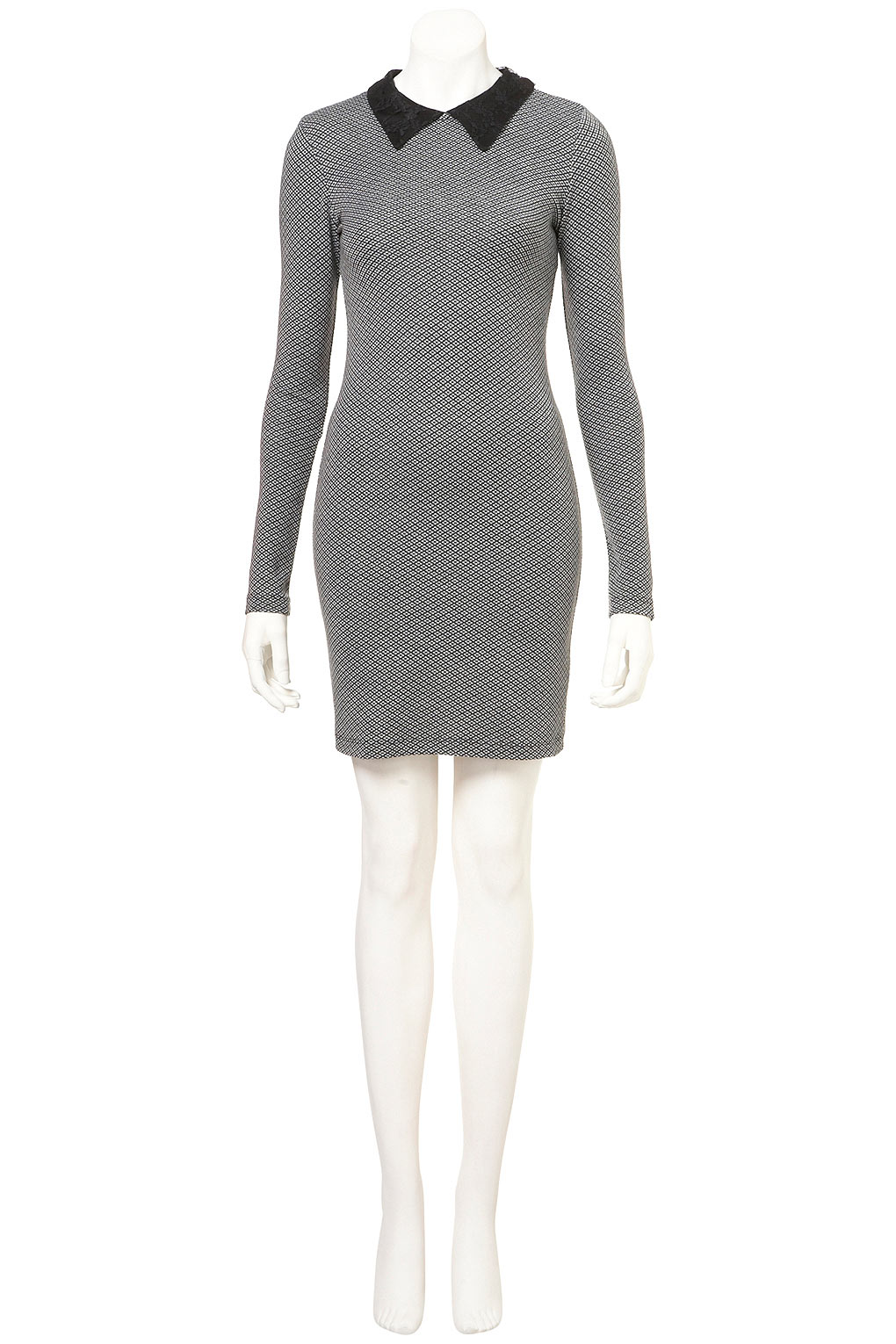 Topshop Lace Collar Tweed Print Dress In Grey Gray Lyst