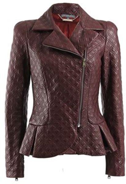Alexander Mcqueen Quilted Zipper Sleeve Leather Jacket In