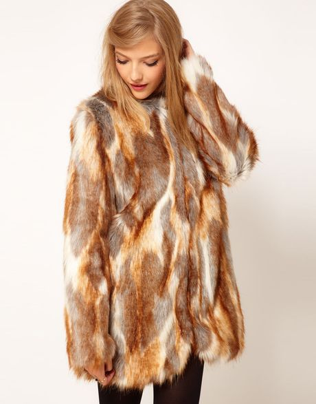 Asos Collection Longline Natural Patchwork Fur Coat in Brown (cream)