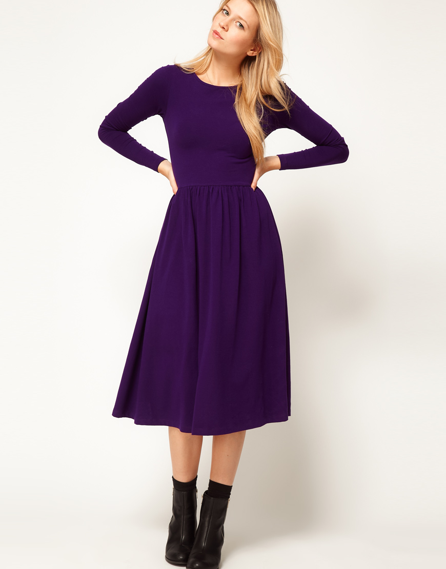 a173f7d1ecff0 ASOS Collection Midi Dress with Long Sleeve in Purple - Lyst