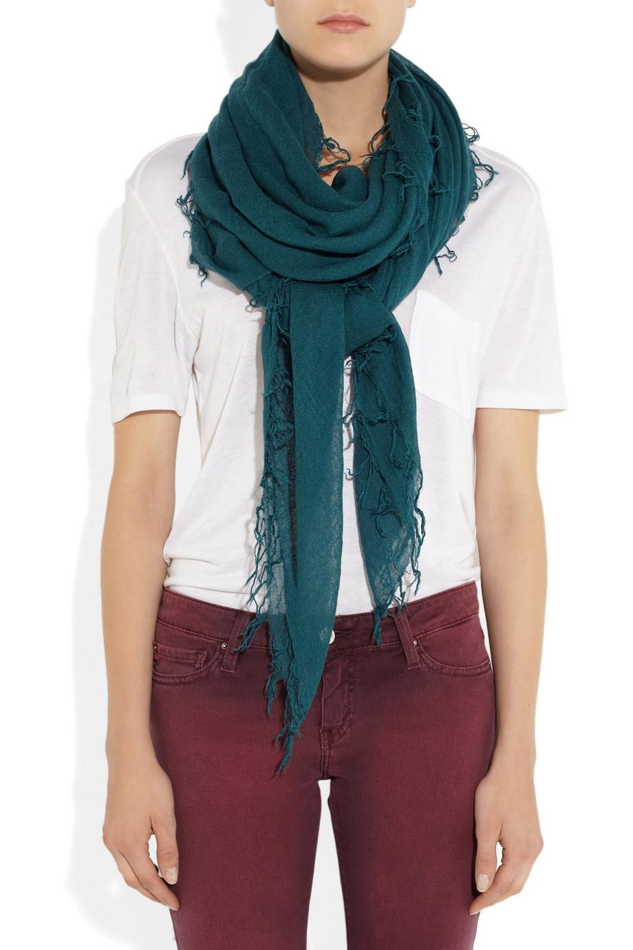 chan luu and silkblend scarf in teal lyst