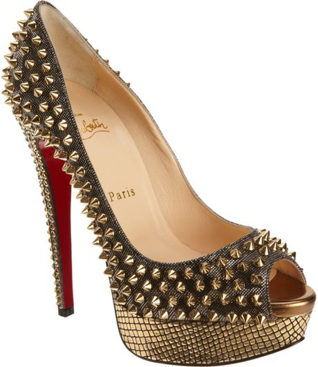 Christian Louboutin Lady Peep Spikes in Gold (grey)