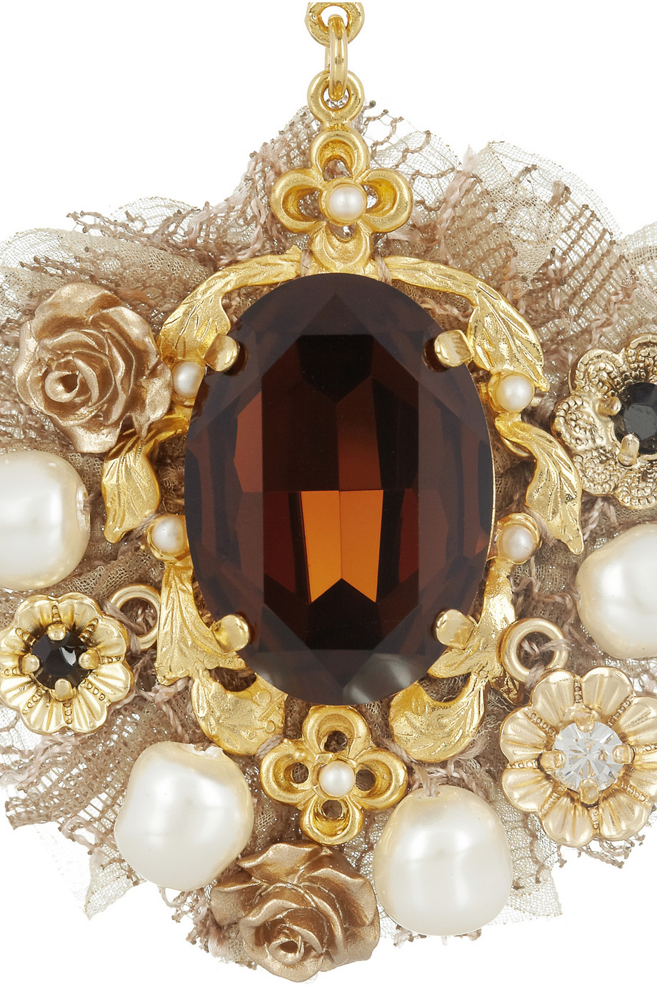 Dolce Amp Gabbana Goldtone Crystal And Faux Pearl Clip