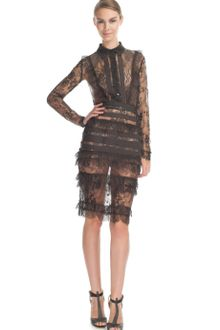 Elie Saab Charcoal Lace Collar Dress - Lyst