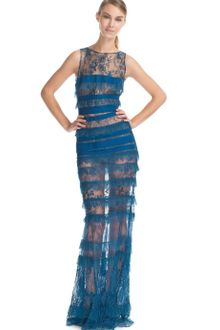 Elie Saab Cobalt Lace Long Dress - Lyst