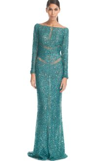 Elie Saab Teal Lace Embroidered Long Dress - Lyst