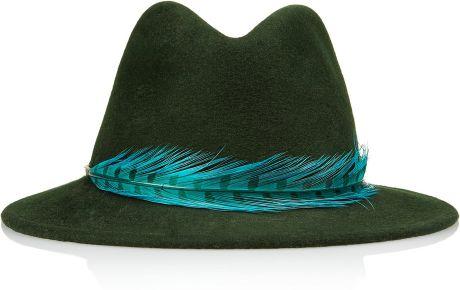 Eugenia Kim Harper Feather Trimmed Wool Felt Fedora in Green (forest)