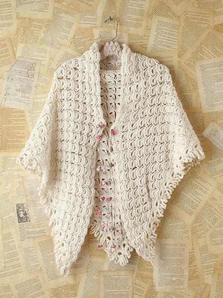 Free Crochet Pattern For Poncho Sweater : Free People Vintage Crochet Sweater Poncho in Beige (creme ...