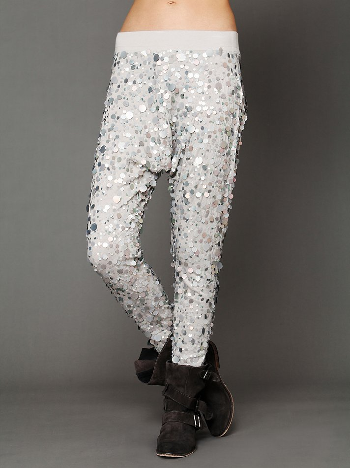Lyst - Free people Disco Sequin Harem Pants in Metallic