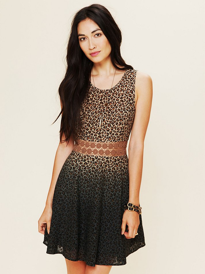 Free People Leopard Daisy Fit And Flare Dress Lyst