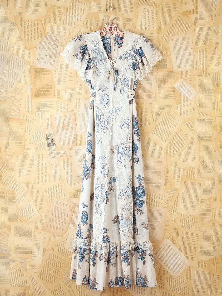 Free People Vintage Blue Floral Maxi Dress in White - Lyst