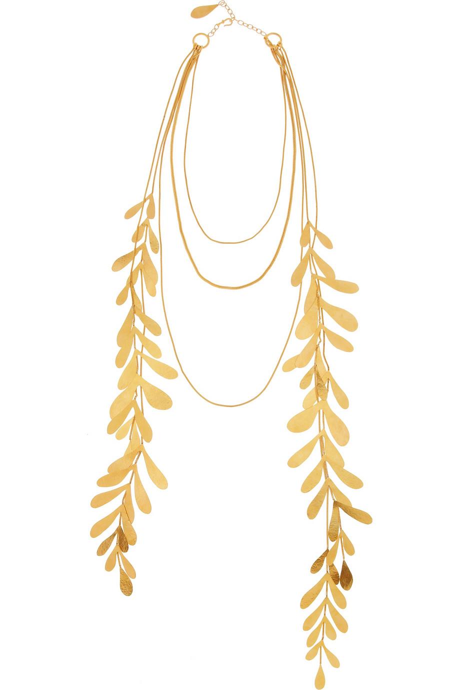 herve van der straeten 24karat goldplated leaf necklace in. Black Bedroom Furniture Sets. Home Design Ideas